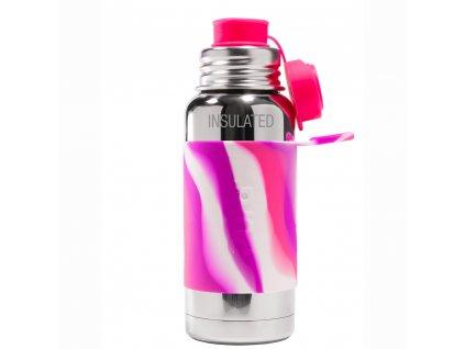 Pura® TERMO láhev se sportovním uzávěrem, Růžovo-Bílá 475ml
