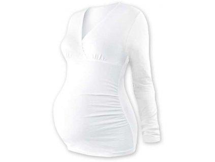 Těhotenská tunika Barbora, dlouhý rukáv, bílá