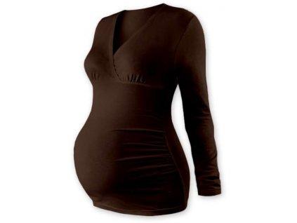 Těhotenská tunika Barbora, dlouhý rukáv, hnědá
