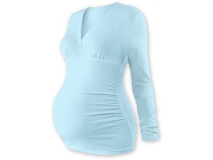Těhotenská tunika Barbora, dlouhý rukáv, světle modrá