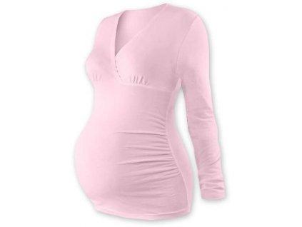 Těhotenská tunika Barbora, dlouhý rukáv, světle růžová