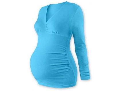 Těhotenská tunika Barbora, dlouhý rukáv, tyrkysová