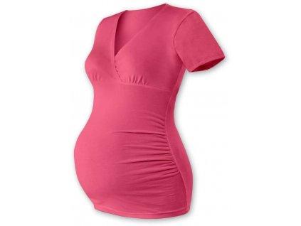 Těhotenská tunika Barbora, krátký rukáv, lososově růžová