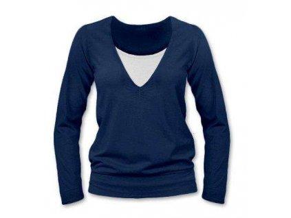 Kojící tričko KARLA, dlouhý rukáv, tmavě modrá (jeans)
