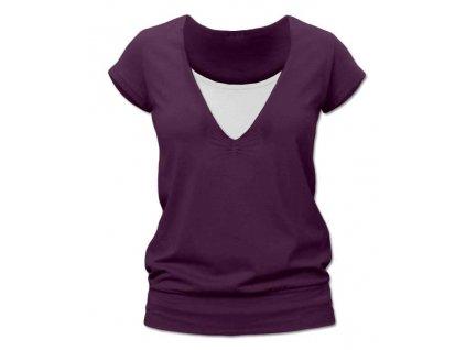 Kojící tričko KARLA, krátký rukáv, švestkově fialové