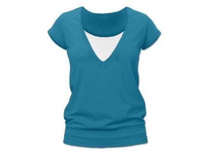 Kojící tričko KARLA, krátký rukáv, tmavý tyrkys