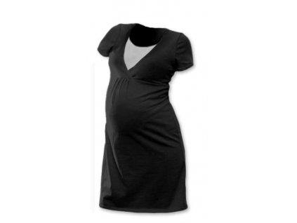 Kojicí noční košile Lucie, krátký rukáv, černá