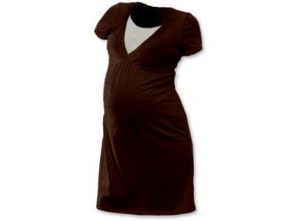 Kojicí noční košile Lucie, krátký rukáv, čokoládově hnědá