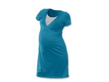 Kojicí noční košile Lucie, krátký rukáv, petrolejová