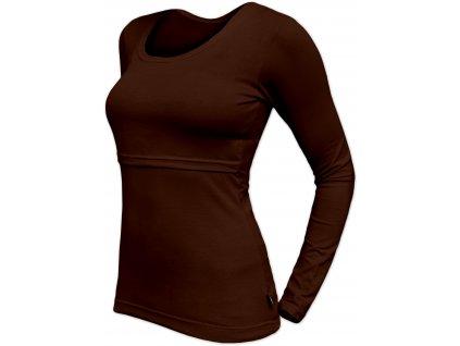 Kojicí tričko Kateřina, dlouhý rukáv, čokoládově hnědé,
