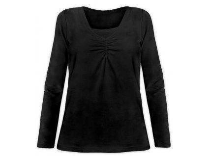KLAUDIE- kojící tričko, vsadka v barvě, dlouhý rukáv, černá
