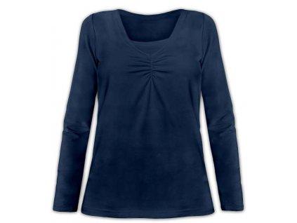 """KLAUDIE- kojící tričko, vsadka v barvě, dlouhý rukáv, tm. modrá ( """"jeans"""" )"""