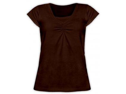 KLAUDIE- kojící tričko, vsadka v barvě, KR, čoko hnědá