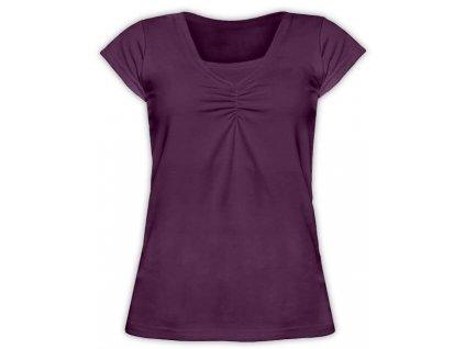 KLAUDIE- kojící tričko, vsadka v barvě, KR, švestková