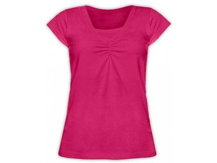 KLAUDIE- kojící tričko, vsadka v barvě, KR, sytě růžová