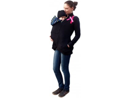 Bavlněná nosící mikina Marta (i těhotenská), černá/růžové pruhy