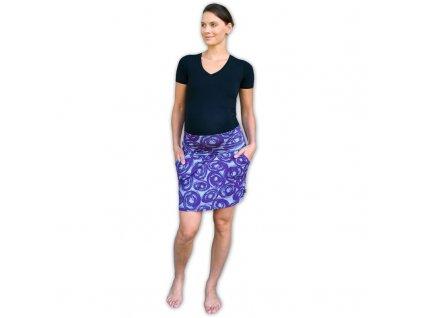 Těhotenská sukně s kapsami Simona, fialová vzorovaná