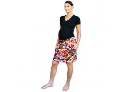 Těhotenská sukně s kapsami Simona, vzorovaná květinová