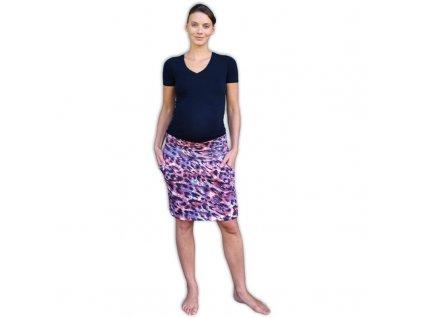 Těhotenská sukně s kapsami Simona, vzorovaná leopardí