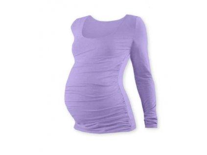 Těhotenské tričko Johanka, dlouhý rukáv, levandulově fialové