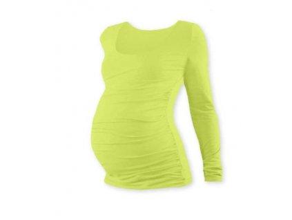 Těhotenské tričko Johanka, dlouhý rukáv, světle zelené