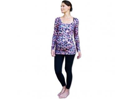 Těhotenské tričko Johanka, dlouhý rukáv, vzorované leopardí