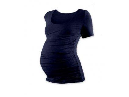 Těhotenské tričko Johanka, krátký rukáv, tmavě modré