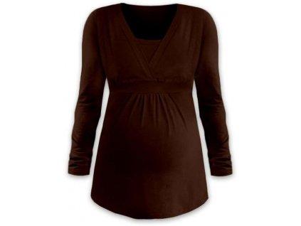 Těhotenská a kojicí tunika Anička, dlouhý rukáv, hnědá