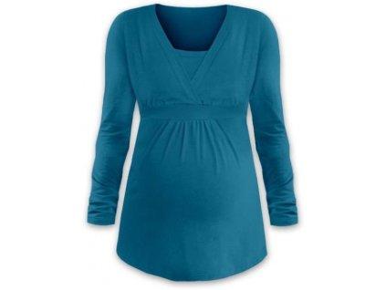 Těhotenská a kojicí tunika Anička, dlouhý rukáv, tmavý tyrkys