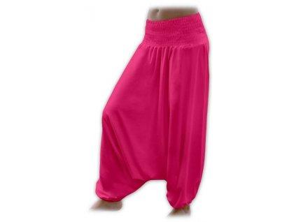 Těhotenské turecké kalhoty, sytě růžové M/L