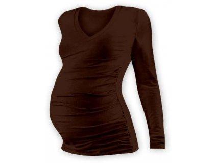 Těhotenské tričko Vanda, dlouhý rukáv, hnědé