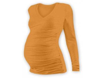 Těhotenské tričko Vanda, dlouhý rukáv, oranžové