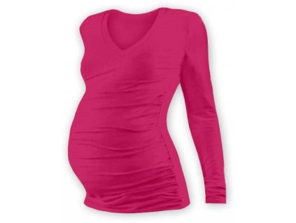 Těhotenské tričko Vanda, dlouhý rukáv, sytě růžové