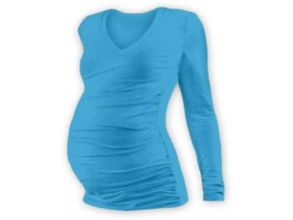 Těhotenské tričko Vanda, dlouhý rukáv, tyrkysové