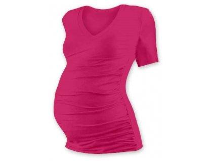 Těhotenské tričko Vanda, krátký rukáv, sytě růžové