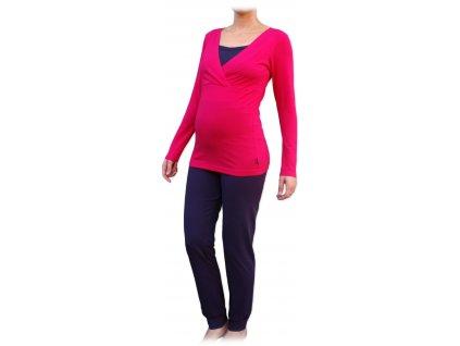 Těhotenské s kojicí pyžamo, dlouhé, sytě růžové+švestka