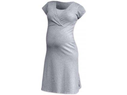 Kojící noční košile Eva, krátký rukáv, šedý melír