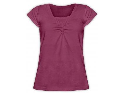 KLAUDIE- kojící tričko, vsadka v barvě, KR, cyklámen