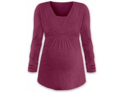 Těhotenská a kojicí tunika Anička, dlouhý rukáv, cyklámen