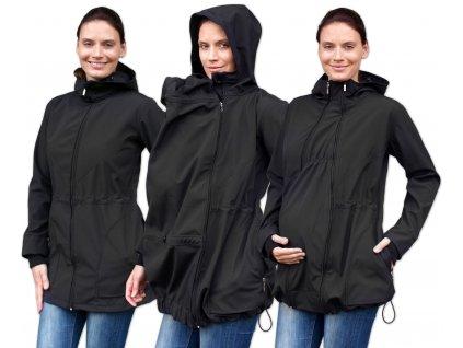 Softshellová těhotenská a nosící bunda Pavla 2, černá