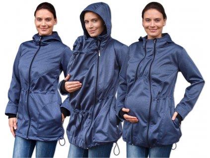 Softshellová těhotenská a nosící bunda Pavla 2, tmavě modrý melír