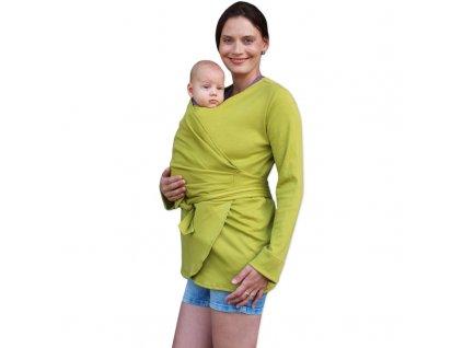BLANKA- BIObavlněný zavinovací kabátek pro těhotné a nosící ženy, limetkový,
