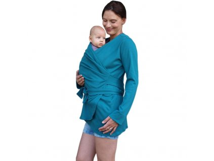 BLANKA- BIObavlněný zavinovací kabátek pro těhotné a nosící ženy, petrolejový,