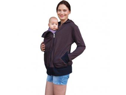 BEÁTA- BIO bavlněná mikina pro těhotné a nosící ženy, čokoládová,