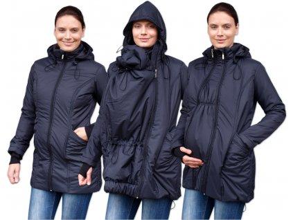 Zimní vyteplená těhotenská a nosící bunda Zora, černá