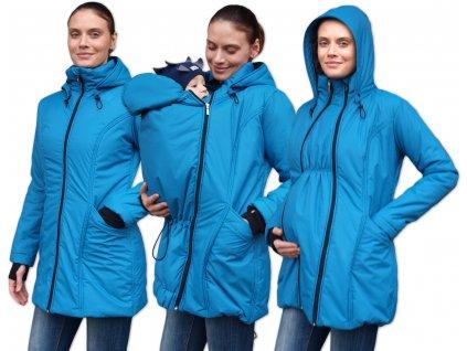ZORA- zimní vyteplená bunda pro těhotné a nosící ženy (pro přední nošení), petrolejová 2,