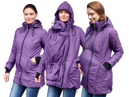 Zimní bunda těhotenská a nosící Zora, vyteplená, fialová,
