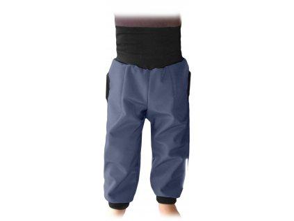 Dětské softshellové kalhoty s náplety a regulací pasu, antracitové (šedé), velikost