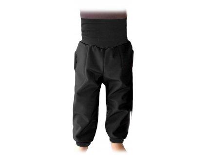 Dětské softshellové kalhoty s náplety a regulací pasu, černé, velikost