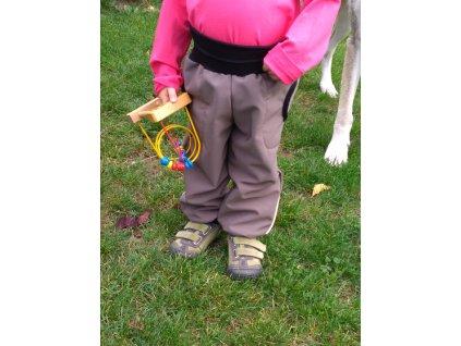 Dětské softshellové kalhoty s náplety a regulací pasu, béžové, velikost